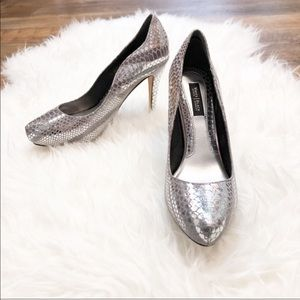 WHBM | NWOT! Silver Snakeskin Pattern Heels